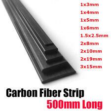 Carbon Fiber Strip Square Sheet Flat Bar Rod For Airplane Pole Multi Sizes 500mm
