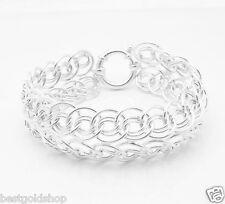 Interlocked Domed Eye Bracelet Real 925 Sterling Silver Senora Clasp 17.6gr