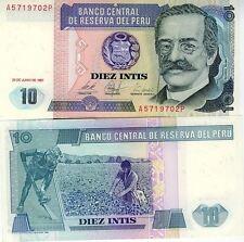 PEROU billet neuf  10 INTIS Pick129 RICARDO PALMA INDIEN  recolte du coton 1987