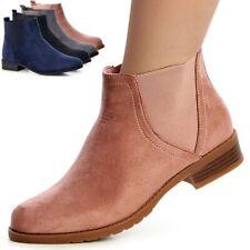 Damenschuhe Stiefeletten Chelsea Boots Booties Stiefel Velours