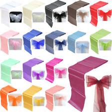 10 Ruban Noeud housse de chaise Organza + 1 chemin de table satin de qualité