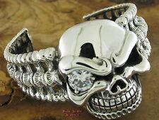 SILBER ARMSPANGE Silberarmband Silber 925 TOTENKOPF Armband Skull Bangle