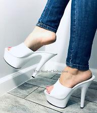 "6"" White Platform High Heels Mens Drag Queen Crossdresser Shoes size 11 12 13 14"