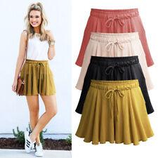 Summer Women Wide Leg Shorts Plus Size Casual Drawstring High Waist Loose Shorts