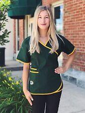 Green Bay Packers Women's Mock Wrap Scrub Top