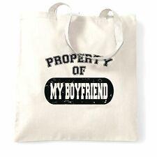 Valentine's Day Tote Bag Property Of My Boyfriend Distressed Couples Joke