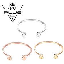 Women's 18K Rose/White/Gold Filled Nail Fashion Open Bangle Bracelet Gift AU