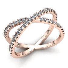 Genuine 0.5ctw Round Diamond Ladies Criss Cross Over Anniversary Ring 14K Gold