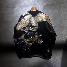 Mens Japanese Pattern Embroidered Sukajan Souvenir Black Jacket Vermilion Bird