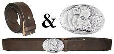 Trachten Wechselgürtel Ledergürtel braun-antik mit Schliesse KEILER Saukopf