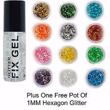Stargazer - Fix Gel Fixative Body Glue -  plus FREE pack of 1mm HEXAGON GLITTER