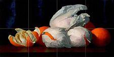 fruits oranges in paper Tile Mural Kitchen Bathroom Backsplash Marble Ceramic