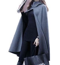 Women Sleeveless Loose Cape Coat Poncho Hooded Cardigan Cloaks Long Shawl