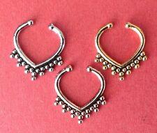 Stunning Beaded Effect Fake septum ring non-piercing nose clip on bead (VV)