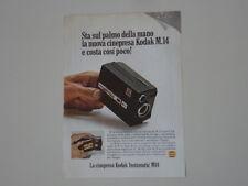 advertising Pubblicità 1968 CINEPRESA KODAK INSTAMATIC M14 M 14 SUPER 8