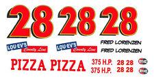 #28 Fred Lorenzen Lou+Ev's Pizza 1958 1/64th HO Scale Slot Car Decals