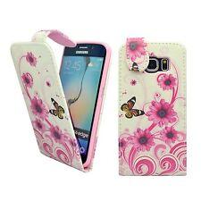 para Samsung Galaxy S6 Edge Blanca y rosa ESPIRAL Flor Estampado Mariposa