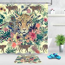 Leopard Tropical Jungle Green Leaves Flowers Shower Curtain Set Bathroom Decor