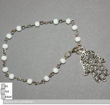 Bracelet CHAPELET MAIN de FATMA KHAMSA HOMME ou FEMME BLANC perles 5mm NEUF