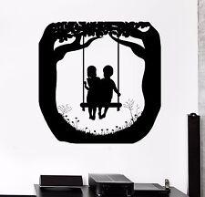Wall Decal Girl Swing Nature Boy Friends Love Children Vinyl Sticker (ed483)