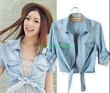 HOT Womens Coat Slim Fit Denim Crop Top Blouse Casual Jacket Short Sleeve Shirts