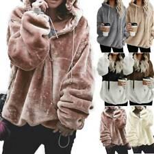 Women Winter Fluffy Fur Sweatshirt Hoodie Jumper Teddy Bear Hooded Tops Pullover