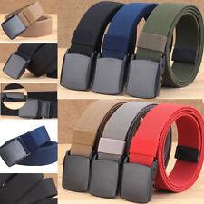 "1.5"" Wide Casual Mens Stretch Waist Web Belt Plain Color Sport Outdoor Waistband"