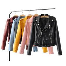 Plus Size Women Faux Leather Biker Jacket Coats Short Punk Motorcycle Lapel Tops