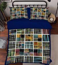 3D Graffiti Colored Plaid 52 Bed Pillowcases Quilt Duvet Cover Set Single Queen