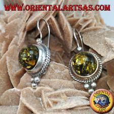 Orecchini in argento 925 ‰ con Ambra verde a semisfera