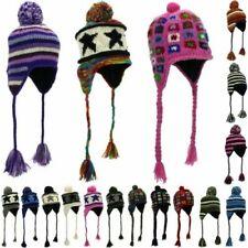 Wool Knit Earflap Bobble Hat LoudElephant Knitted Cap Warm Bean Winter
