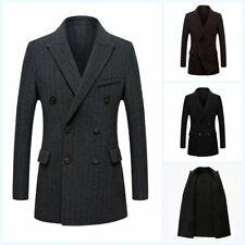 Men's Slim Fit Blazer Jacket Woolen Coat Trench Double Breasted Outwear British
