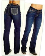 Western Cowgirl UP Show DARK Blue Jeans 28~34 Xgames Print BLING Cripple Creek 2