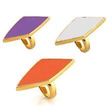 BELLE NOEL KIM KADASHIAN 14K Gold Diamond Shaped Coral Purple White Enamel Ring