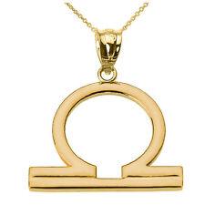 Fine 10k Yellow Gold Libra October Zodiac Sign Horoscope Pendant Necklace