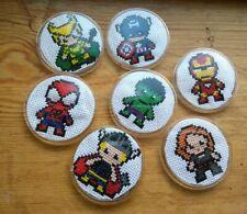 Handmade Marvel Cross Stitch Badges