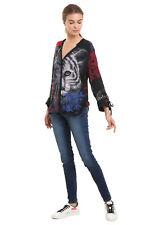 Desigual Clara Blouse Shirt XS-XXL UK 8-18 RP£74 Black Floral Lion Ribbon Sleeve