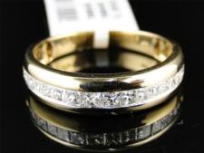 14K Mens Yellow Gold Princess SI Diamond Invisible Wedding Band Ring 1 Ct