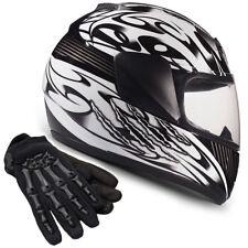 Youth Kids Motorcycle Helmet Child Full Face Black DOT Gloves Typhoon Helmets