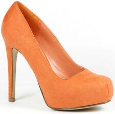 Coral Orange Faux Suede High Stiletto Heel Hidden Platform Pump Delicious