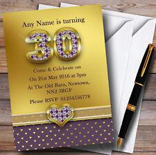 Oro satinado y corazones púrpura 30 Personalizado Fiesta De Cumpleaños Invitaciones