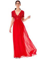 Goddiva Womens Red Maxi Dress, Lace & Sequin Chiffon, V Neck, Short Sleeve