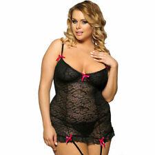 Plus Size Black Lace Garter Slip Babydoll Chemise Womens Lingerie Size XL to 5XL