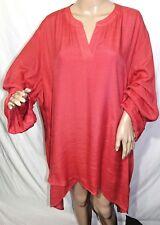 N Touch Women Plus Size 1x 2x 3x Elegant Asym Dark Orange Tunic Top Blouse Shirt