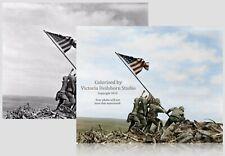 Iwo Jima U.S New 5x7 World War II Photo Flag on Crest of Mount Suribachi