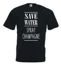T-Shirt Fun J491 Save Water Spray Champagne Drunk Drink Cincin Salute Brillo