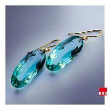 Pure 18k 14k Gold Large Dark Prasiolite Quartz Earrings with Lever Back Option