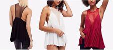 FREE PEOPLE Women Black Marble Sexy Lace Sleeveless Tank Tops Shirt Blouse