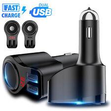 Dual USB Car LCD Cigarette Lighter Socket Splitter Charger Power Adapter DC/12V