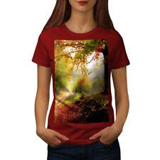 Wellcoda Forest Tree Autumn Womens T-shirt, Late Casual Design Printed Tee